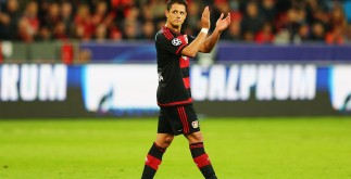 LEVERKUSEN, GERMANY - SEPTEMBER 16:  Javier Hernandez of Bayer Leverkusen applauds the fans after being substituted during the UEFA Champions League Group E match between Bayer 04 Leverkusen and FC BATE Borisov at BayArena on September 16, 2015 in Leverkusen, Germany.  (Photo by Martin Rose/Bongarts/Getty Images)