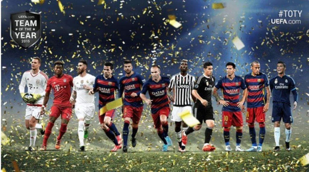 UEFA da a conocer el once ideal del año