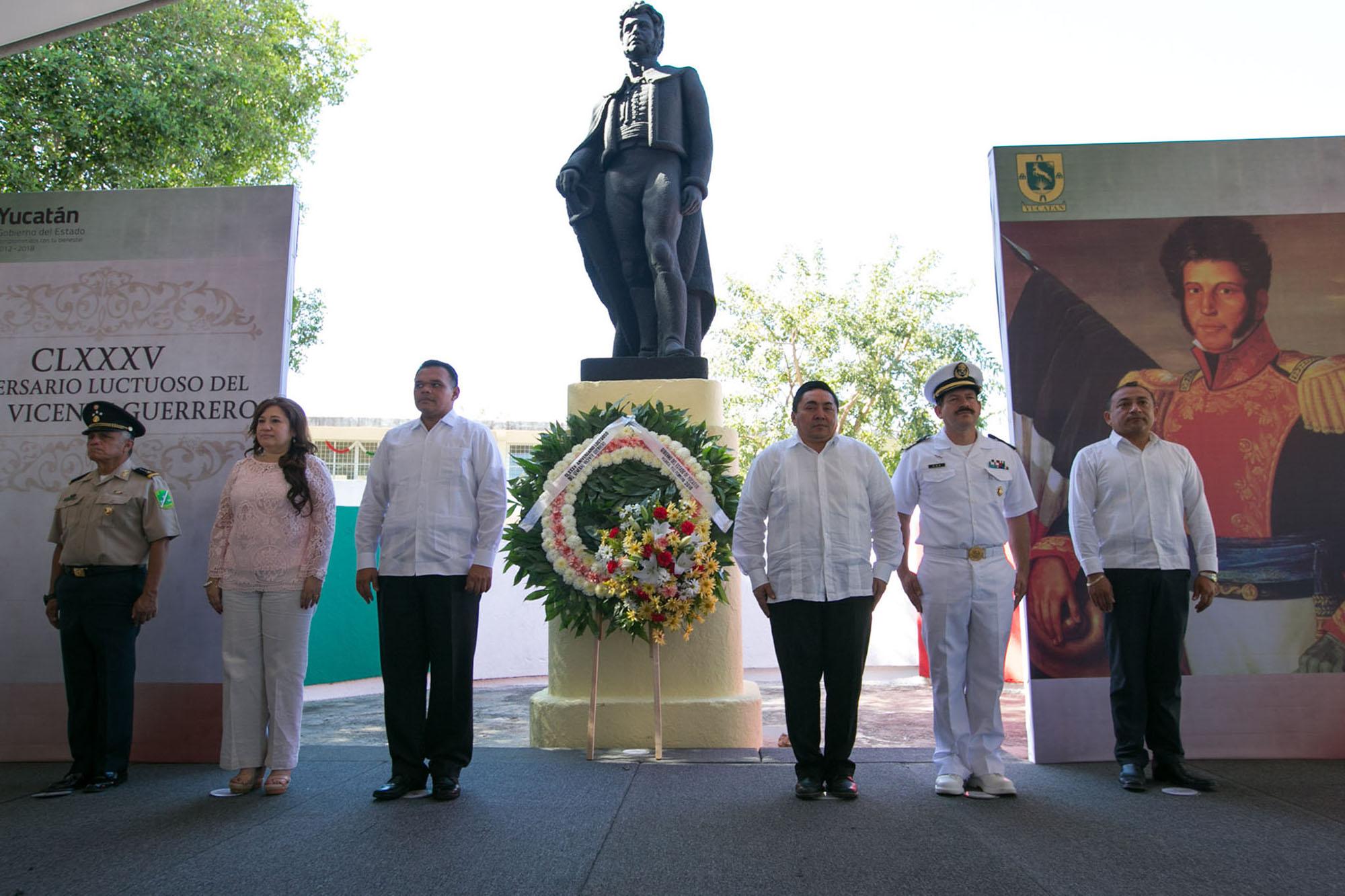 Conmemoran en Yucatán 185 aniversario luctuoso de Vicente Guerrero