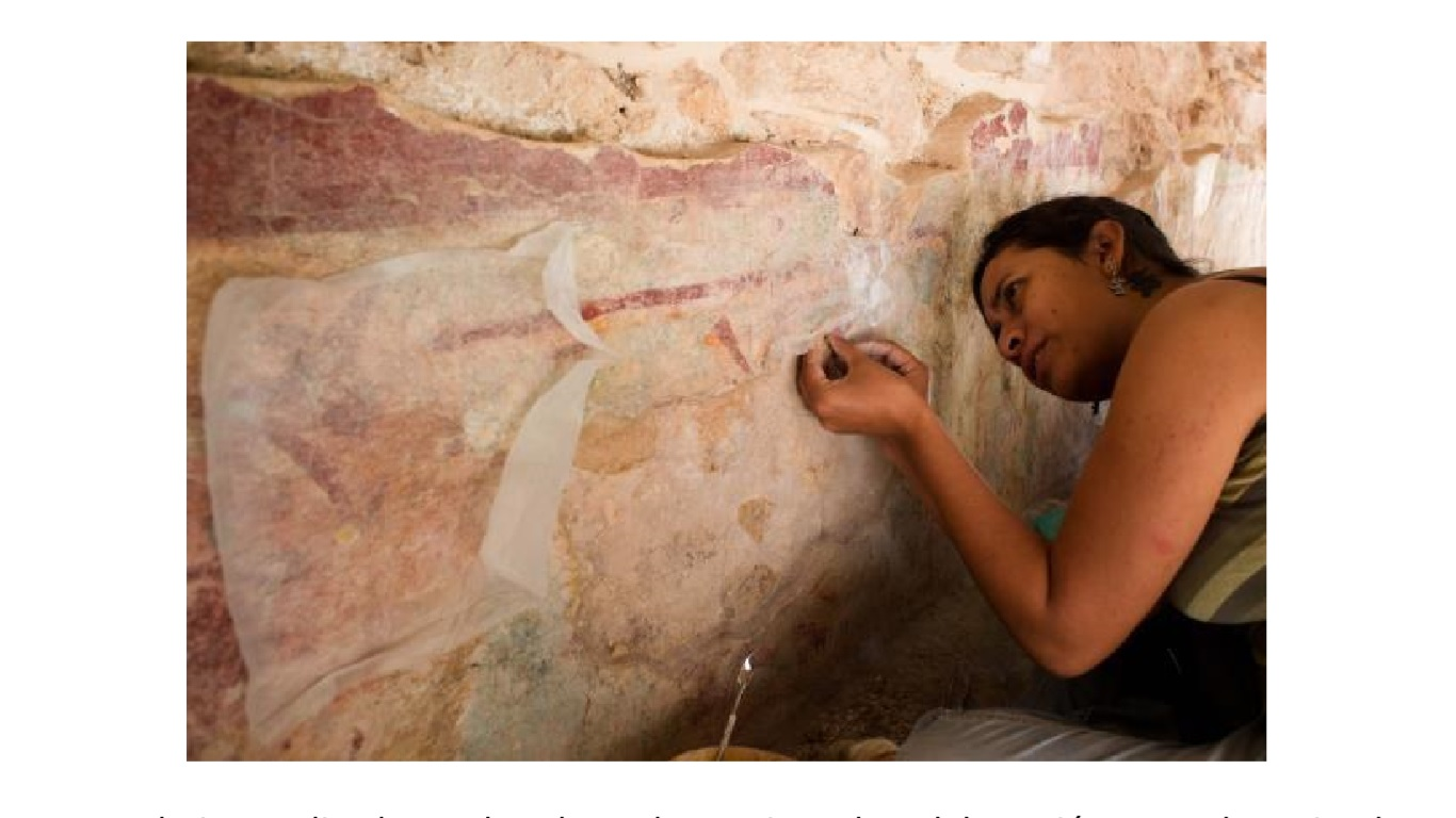 Desvela INAH restauración de pinturas murales en Mayapán
