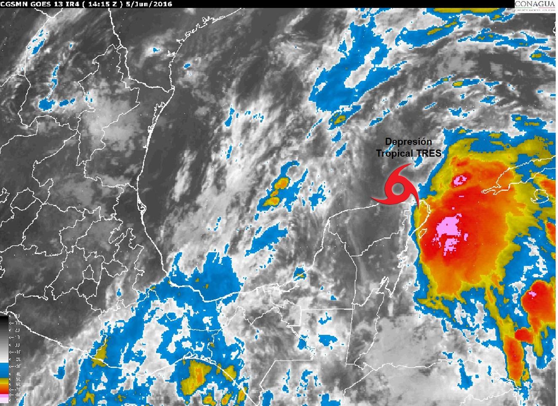 Se forma Depresión Tropical Número 3 al norte de Península de Yucatán