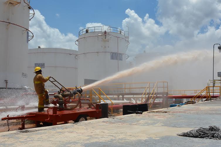 Simulacro de derrame e incendio en instalaciones de Pemex en Mérida
