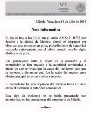 Evitan colisión en aeropuerto de Mérida