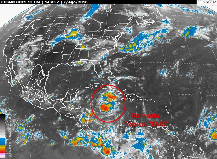 Se forma en Mar Caribe la Tormenta Tropical Earl