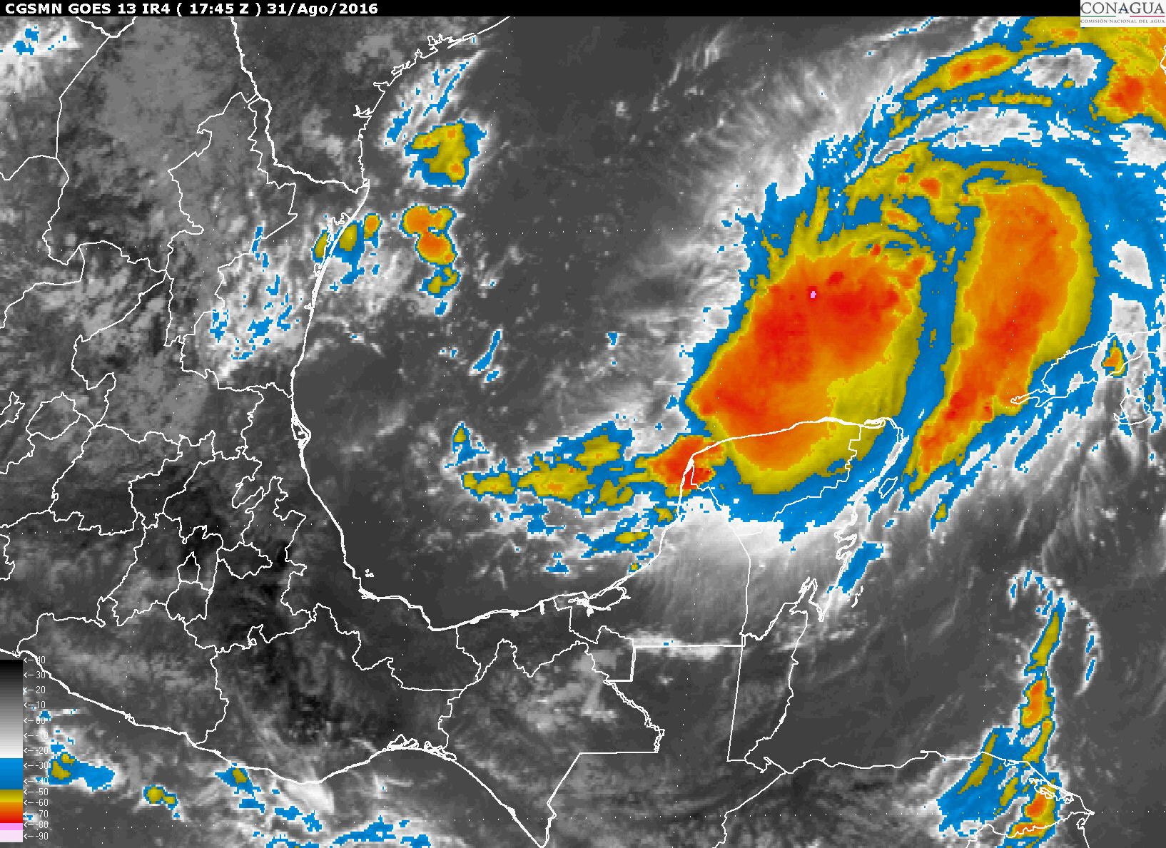 Tormenta tropical Hermine, a 345 km de Río Lagartos