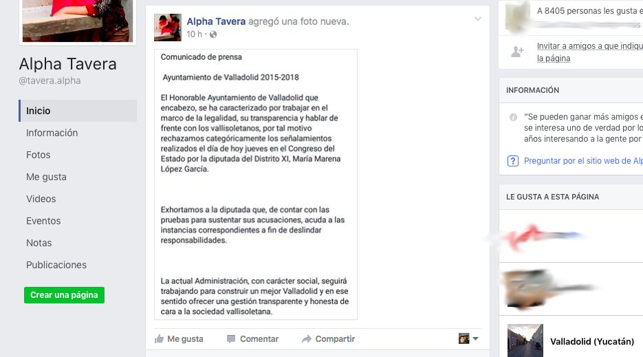 Denuncian 'ataques' contra Alcaldesa de Valladolid