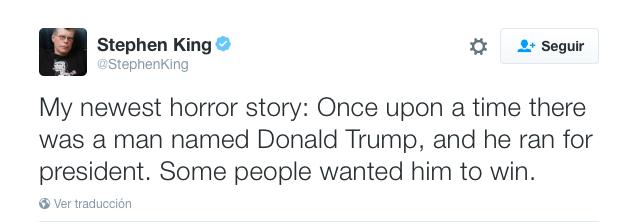 'Protagoniza' Trump nueva historia de Stephen King