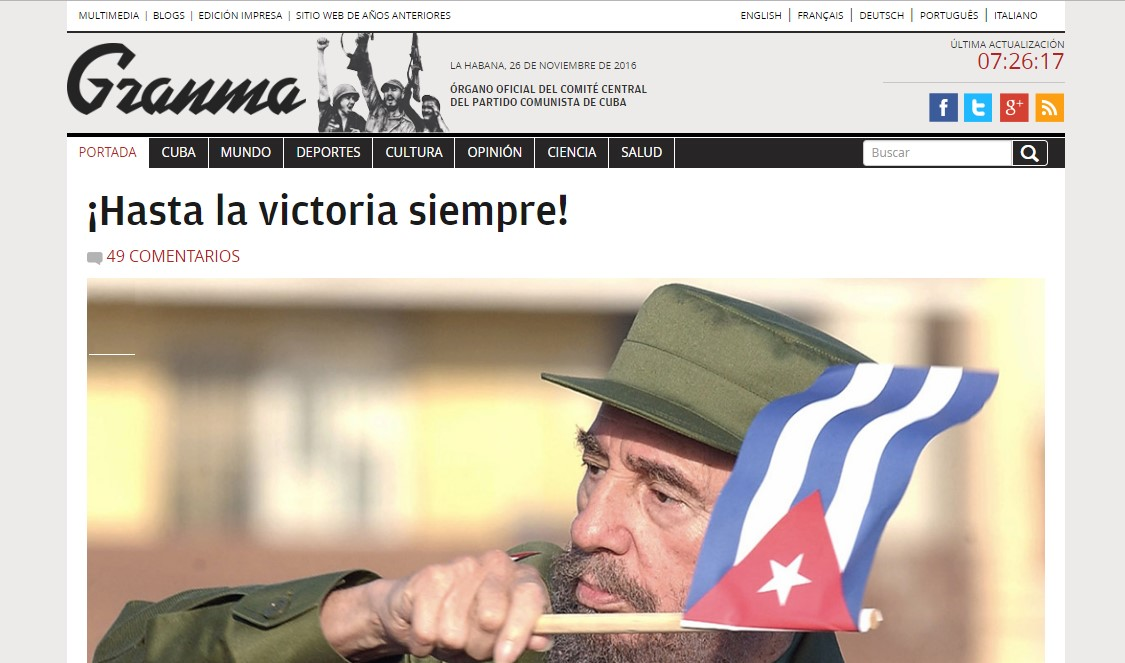 La muerte de Fidel Castro en Cuba