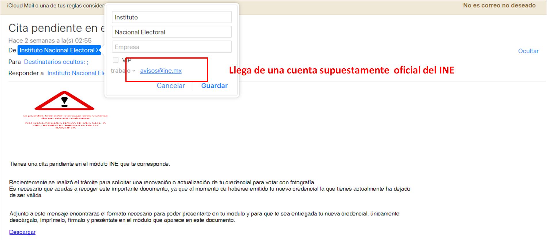 Suplantan identidad del INE en correo electrónico con malware