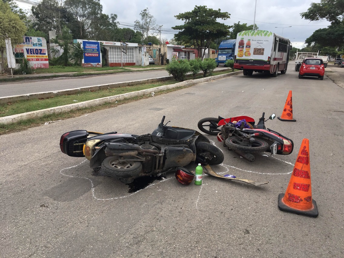 Familia lesionada por choque de motocicletas