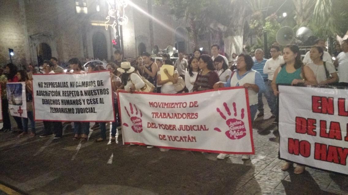 Extienden protestas empleados de Poder Judicial en Yucatán