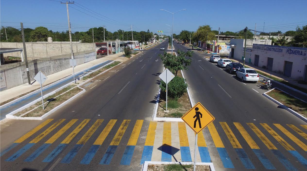 Modernizan Avenida 50 con primera ciclovía en interior de Mérida