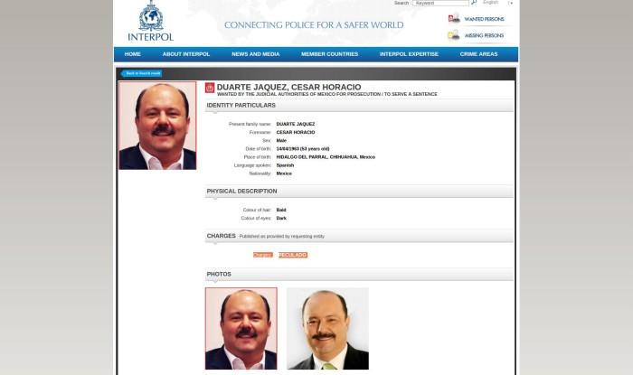 Ficha Interpol a César Duarte; lo buscan por peculado