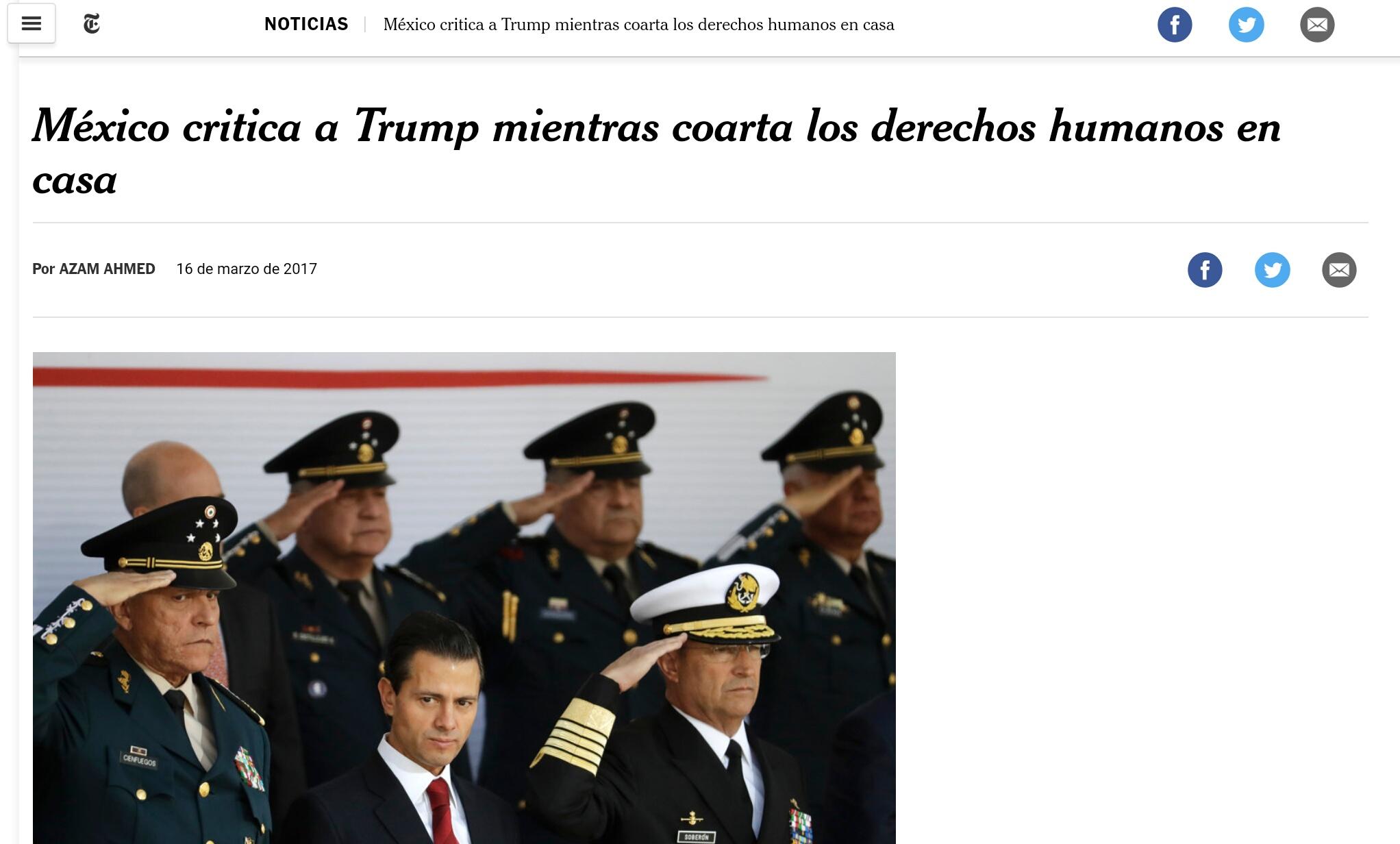 Critican en NYT discurso de México
