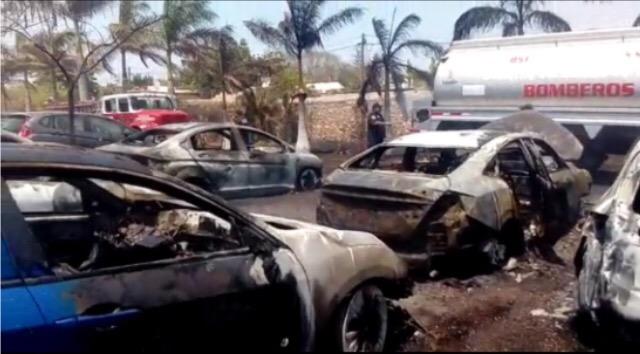 Fuego arrasa con 14 vehículos en Chichi Suarez