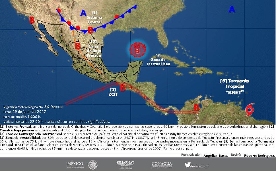 Depresión tropicalen alejamiento y tormentaen camino