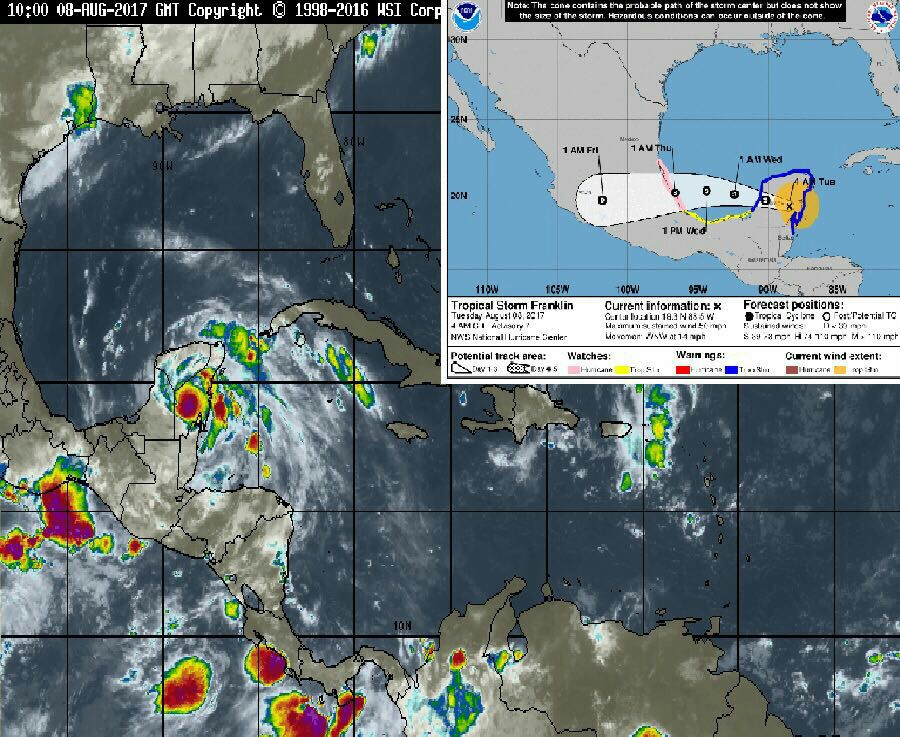"Afecta áreas rurales Tormenta Tropical ""Franklin"""
