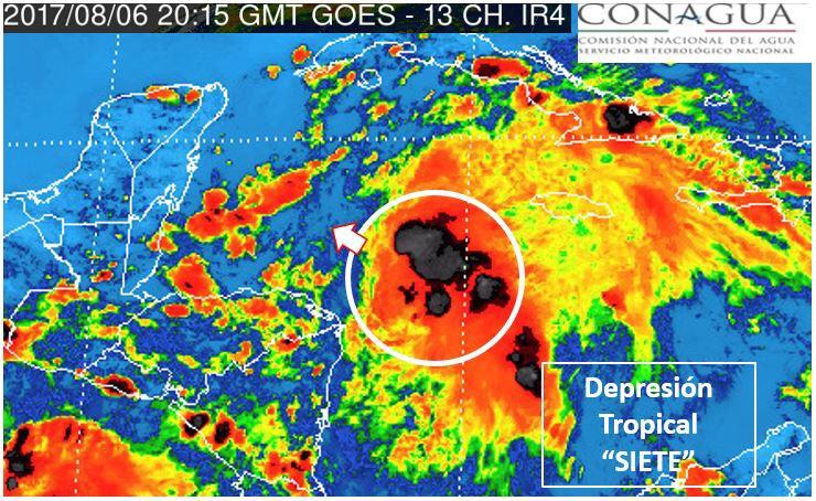 Se forma Depresión Tropical 7 frente a QRoo