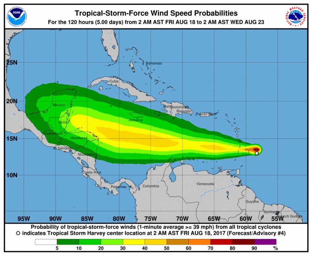 """""""Harvey"""", con """"paso firme"""" hacia el sur de la Península de Yucatán"""