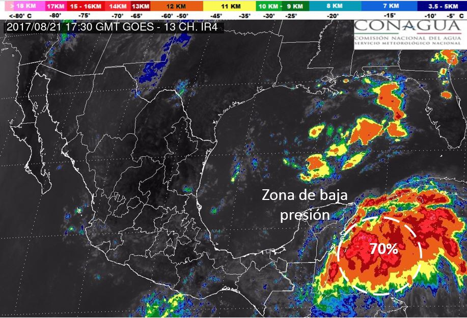 Remanentes de 'Harvey' y turbulencia, con potencial de evolución cerca de QRoo