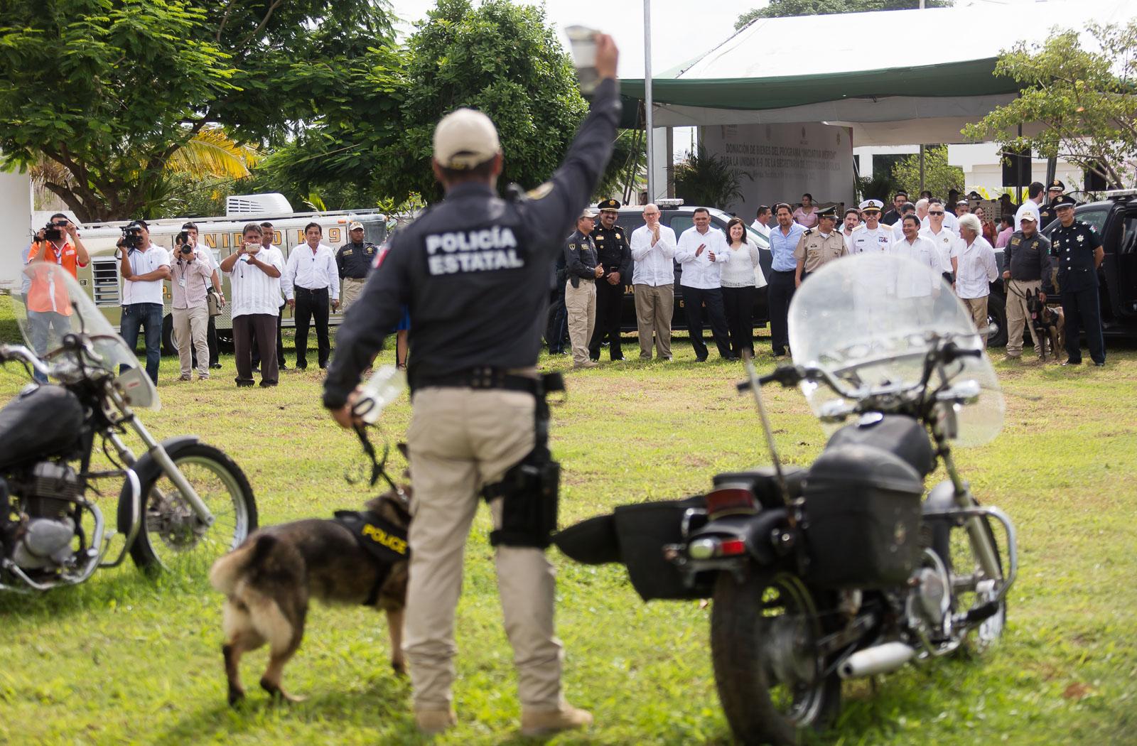 Agentes caninos donados por EU llegan a Policía de Yucatán