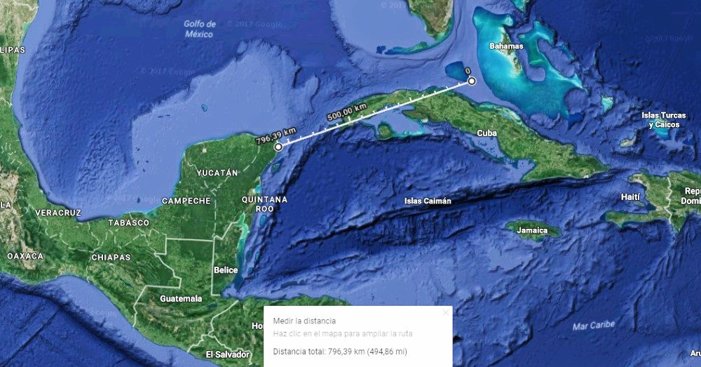 Distancia Irma y México Google Maps (satélite)