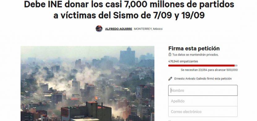 captura pantalla peticion change.org donacion dinero partidos sismos