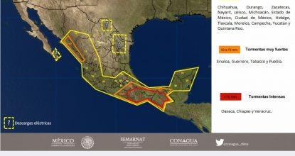 mapa potencial tormentes clima sept 20 de 2017 mexico