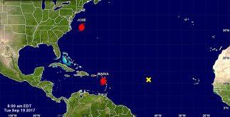 """Mientras el huracán """"José"""" ronda la costa de Estados Unidos, """"María"""" amenaza islas que ya había golpeado con fuerza """"Irma"""", en el mar Caribe. (CNH)"""
