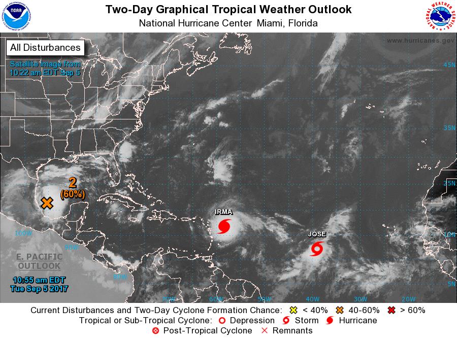 """Nace """"José"""", detrás de """"Irma"""", en el océano Atlántico"""