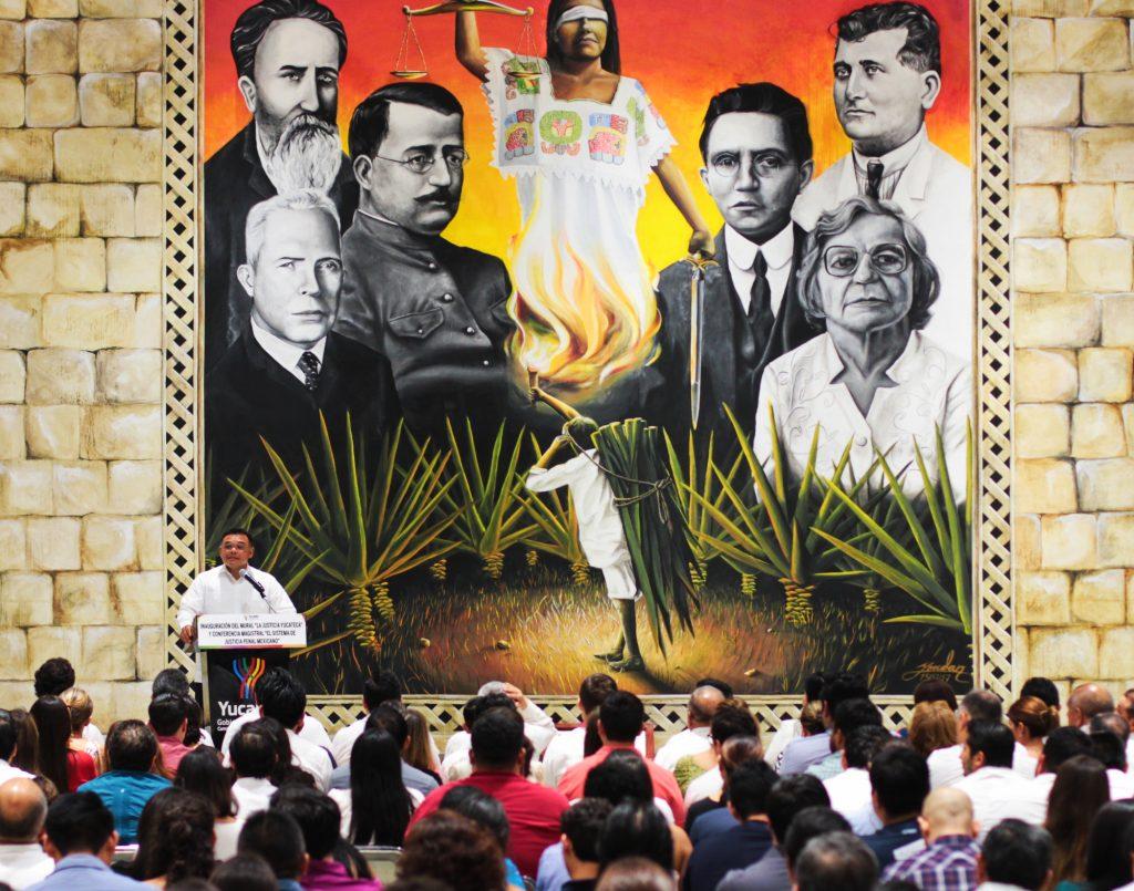 rolando zapata bello inauguracion mural la justicia yucateca