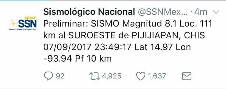 Temblor de magnitud 8.2 sacude México