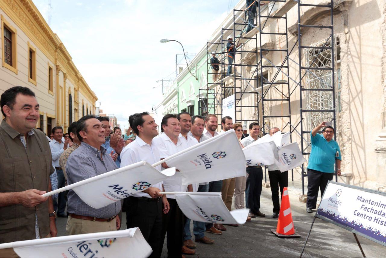 Va en Mérida segunda etapa de mantenimiento de fachadas