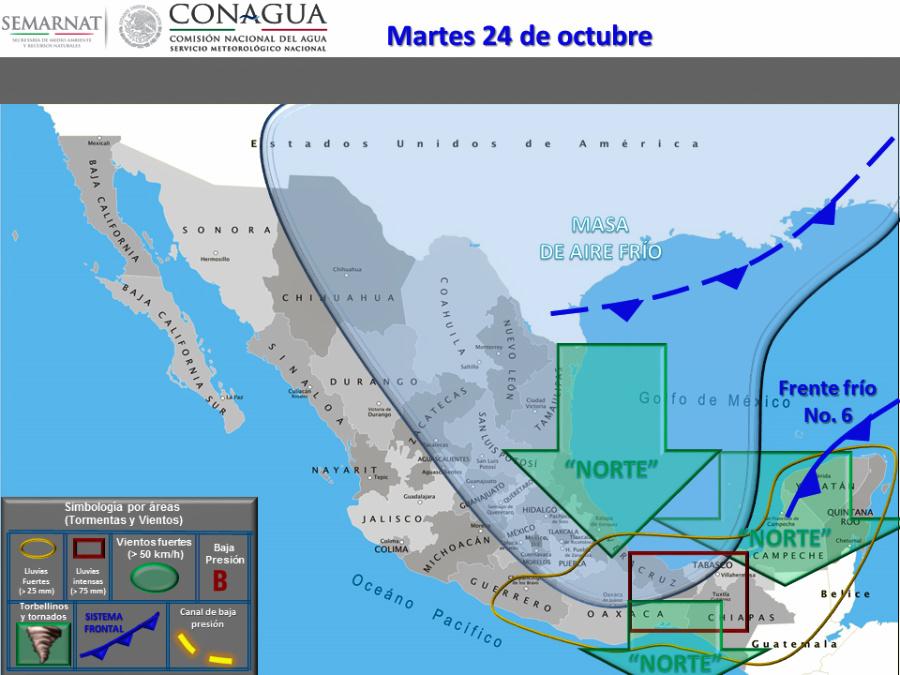 el mapa pronostico clima yucatan norte frente frío 26
