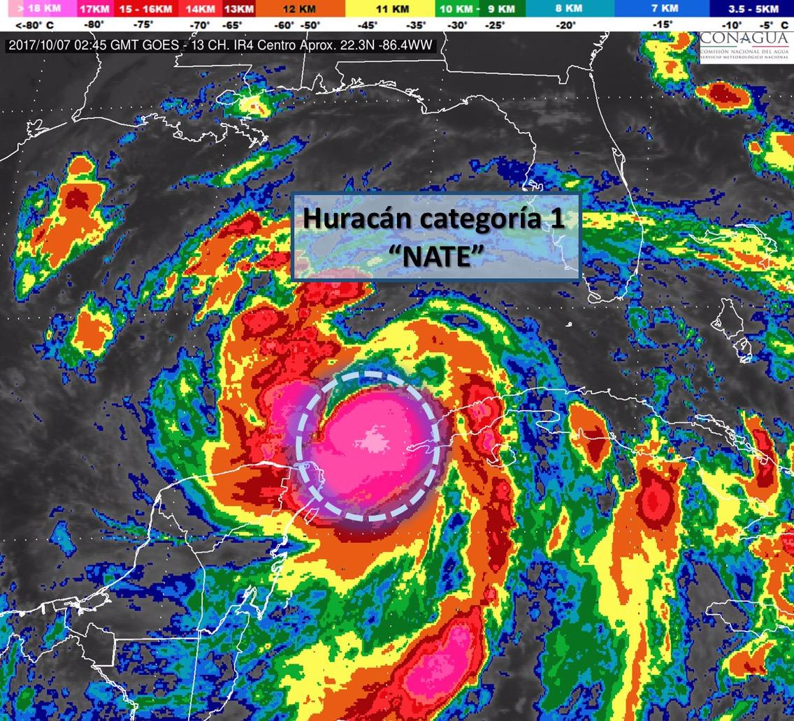 Evoluciona 'Nate' a huracán categoría 1