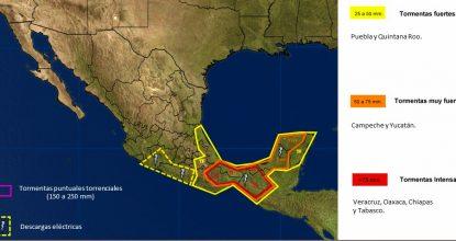 mapa potencial de tormentas en mexico pronostico del clima 18 de octubre de 2017