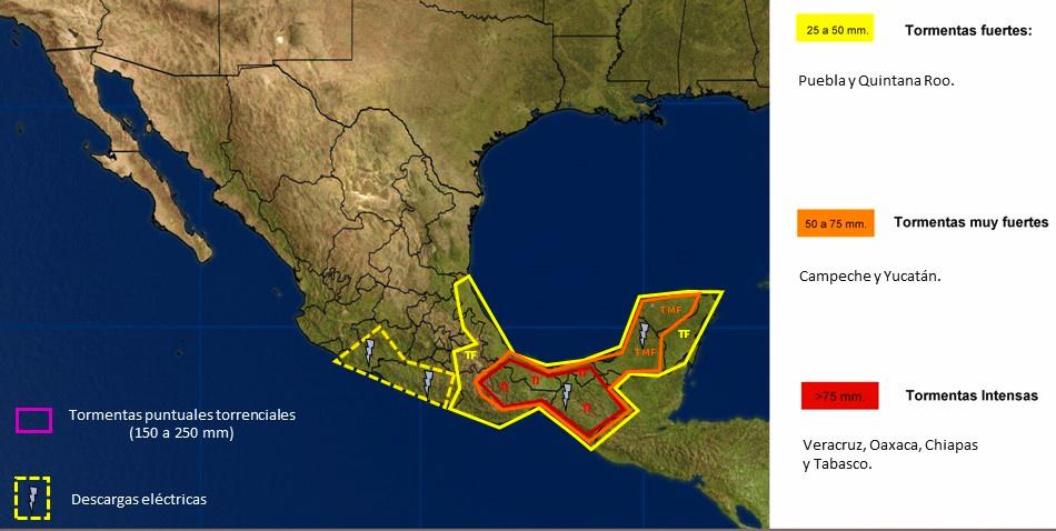 Onda tropical y frente frío traen lluvias a Yucatán