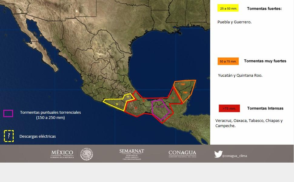 Norte baja termómetro en Yucatán; Cancún, donde más llovió en todo México
