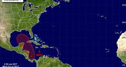 mapa trayectoria de zona de inestabilidad y posible ciclón tropical en el caribe