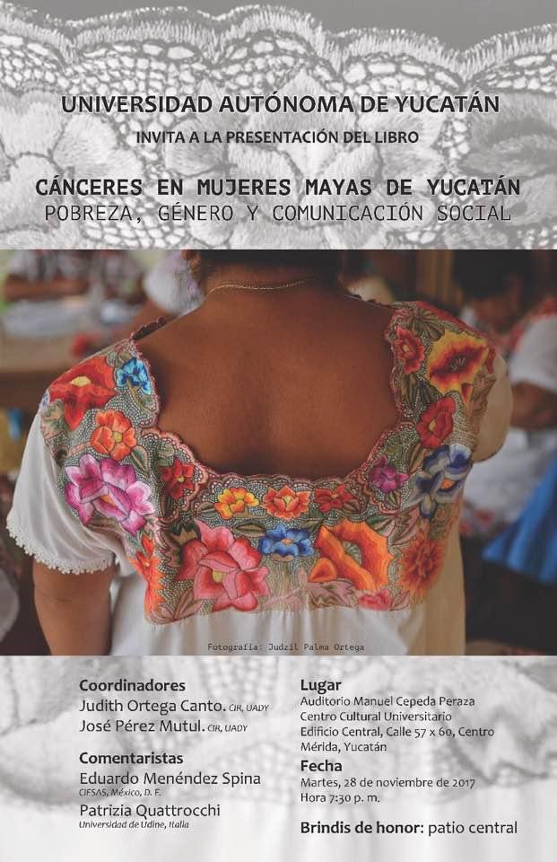 invitación a presentación del libro cánceres en mujeres mayas de Yucatán 2017