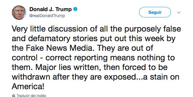 Trump critica a medios: 'mancha para los EU'