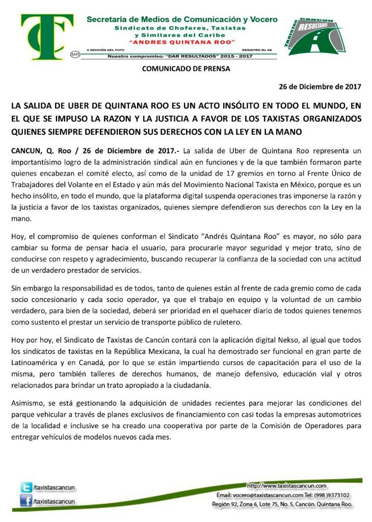 Comunicado Sindicato Taxistas Andres Quintana Roo salida Uber Cancún