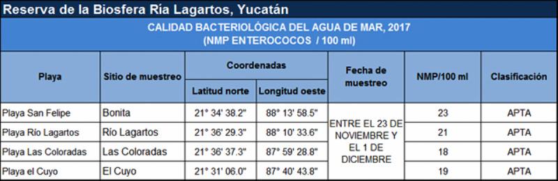 contaminación playas Las Coloradas, Río Lagartos, El Cuyo, Yucatán.Cofepris 2017