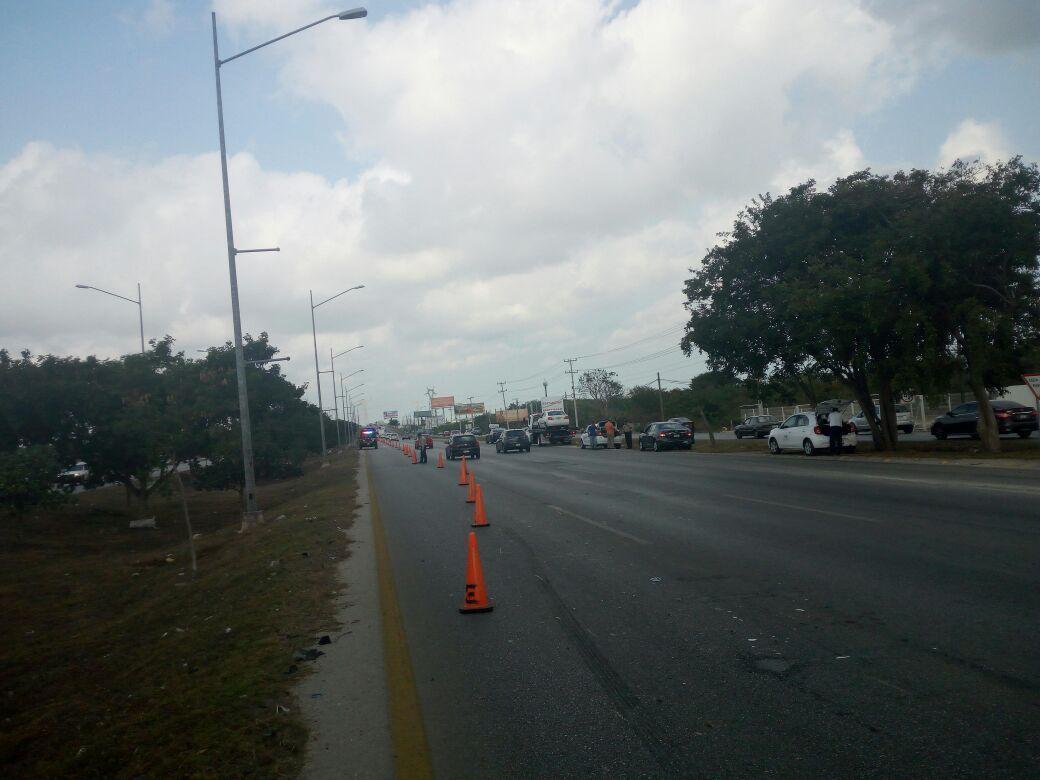 Cierre de carril en periférico Mérida ocasiona 7 accidentes