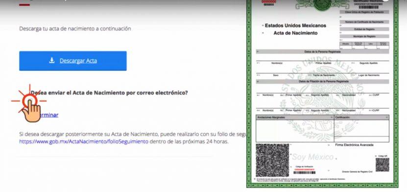 captura pantalla servicio acta nacimiento via internet mexico yucatan