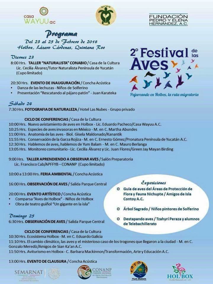 Cartel del festival de las aves en Holbox