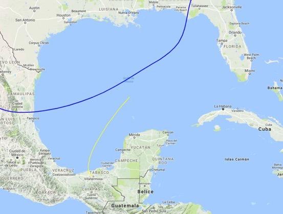 Mapa del punto de ubicación del frente frío 35 en el Golfo de México. (Foto: Conagua)
