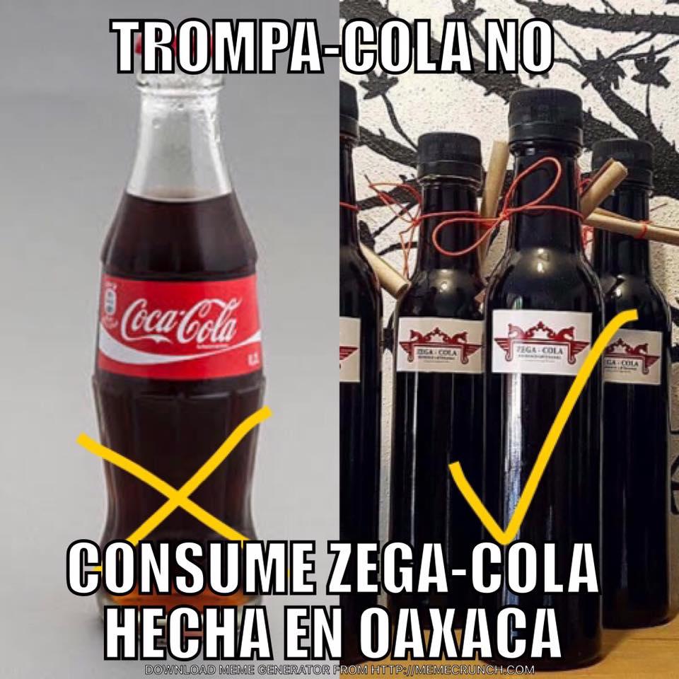 "Imagen que ""promociona"" Zega Cola, contra Coca Cola. (facebook.com/zegache)"