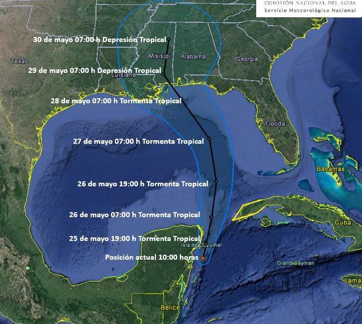 """Atípica tormenta subtropical """"Alberto"""" bordearía Península Yucatán"""