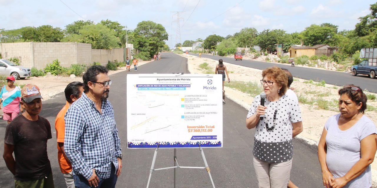 Supervisa alcaldesa obras en beneficio de vecinos de Dzununcán y San José Palomeque